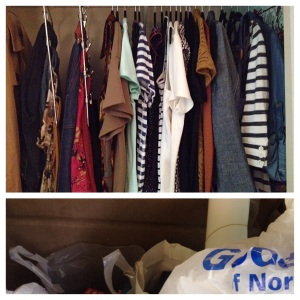 My clean summer closet and a fraction of what is no longer in it, loaded up for the thrift store