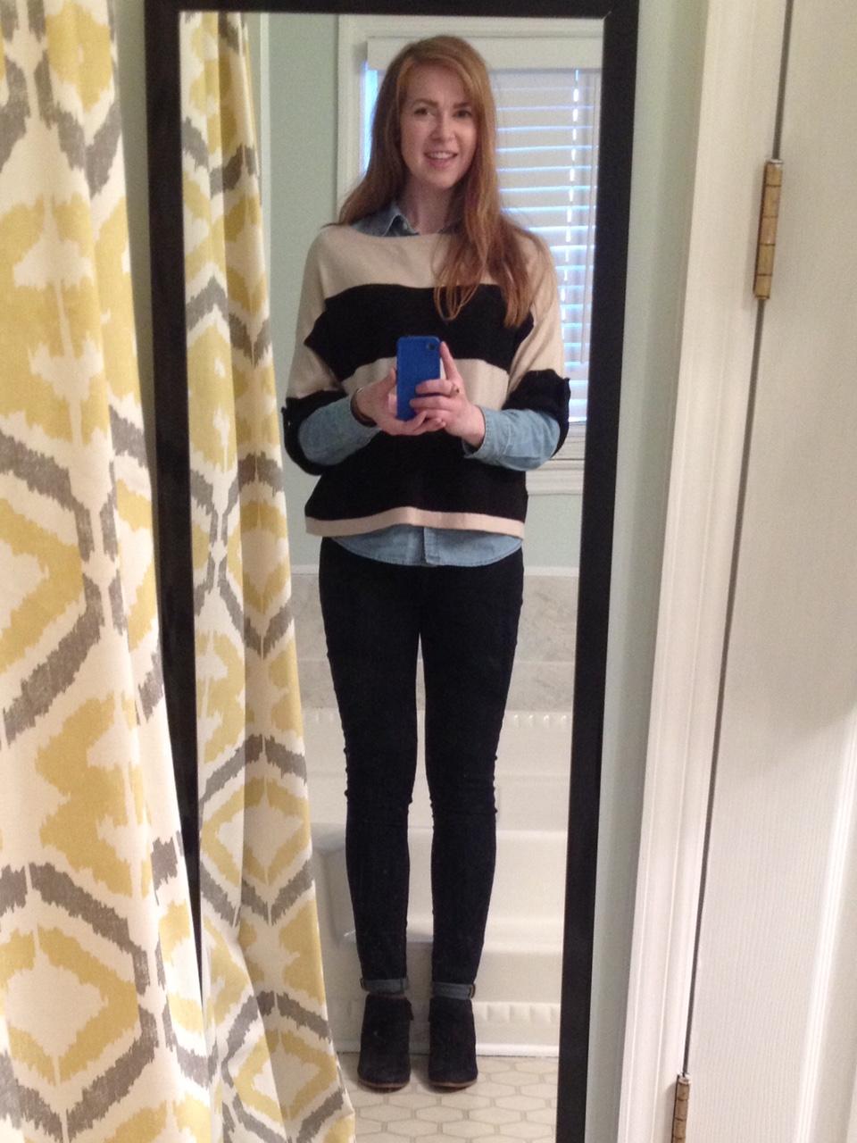 3701440e15df6 Dark wash skinnies, chambray shirt under wide stripe sweater