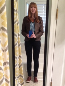 Faux leather jacket, chambray shirt, dark wash skinny jeans, brown leather sneakers
