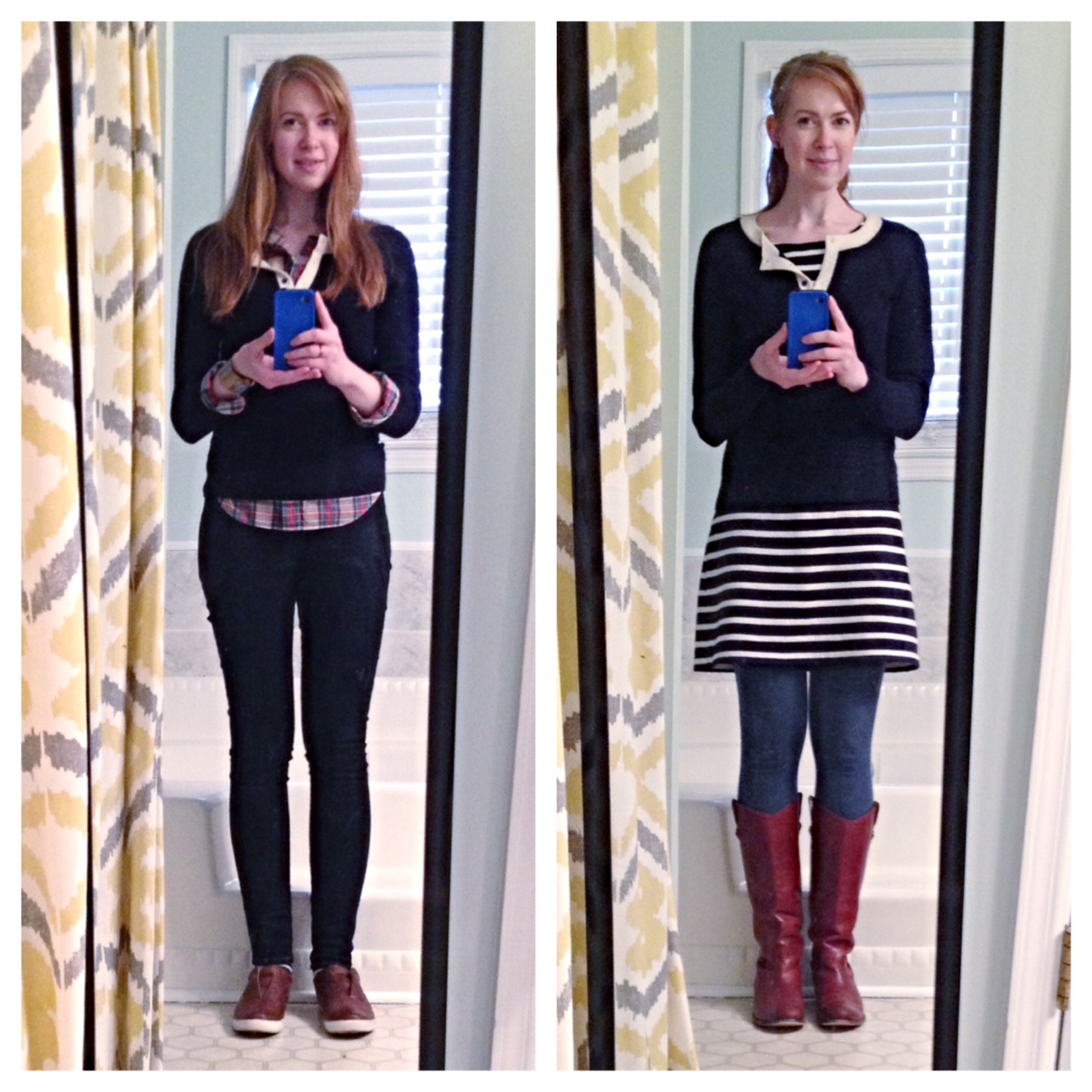a84e5ddae28c0 Navy cashmere over plaid with jeans and over stripes with leggings and boots